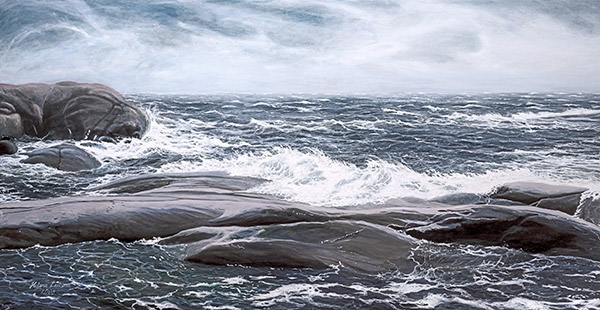 Bengtskärin rantapärskeet, 2008, öljy 70 x 150 cm